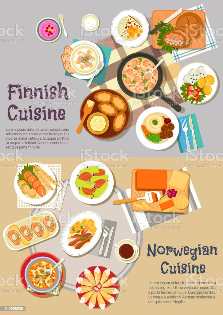 Popular dishes of finnish and norwegian cuisines vector art illustration