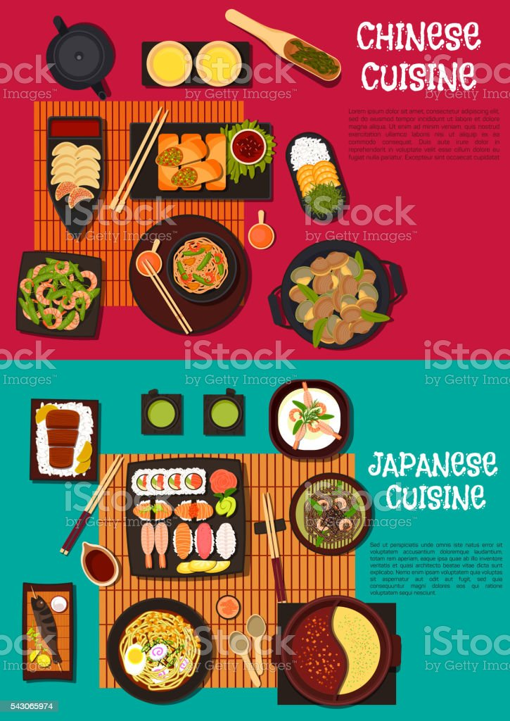 Popular dishes of japanese and chinese cuisine vector art illustration