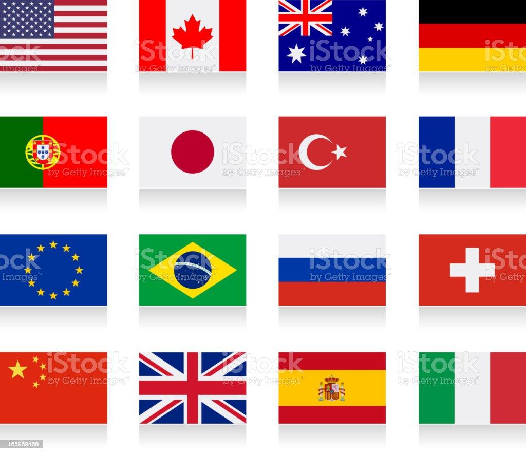 Popular flag collection vector art illustration