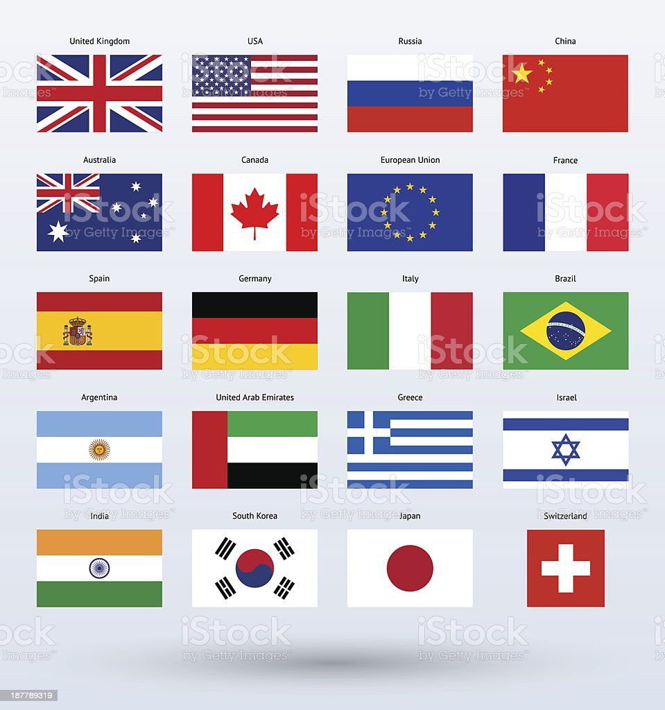 Popular Flags Collection royalty-free stock vector art