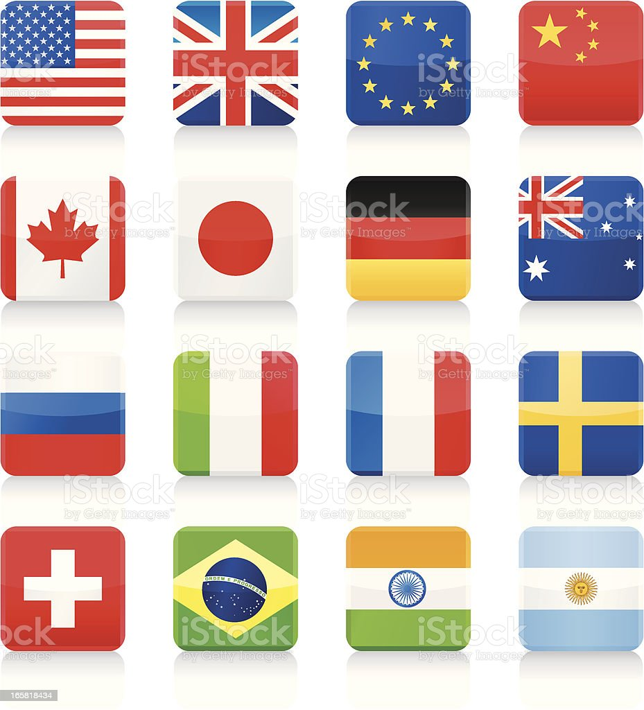 Popular Flags - square icons royalty-free stock vector art