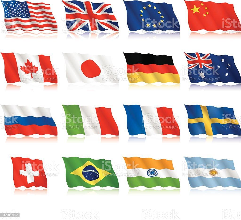 Popular Flags - waving form royalty-free stock vector art