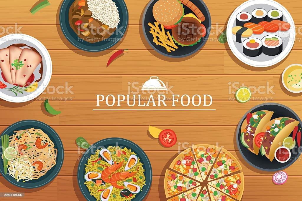 popular food on a wooden background.Vector popular food top vector art illustration