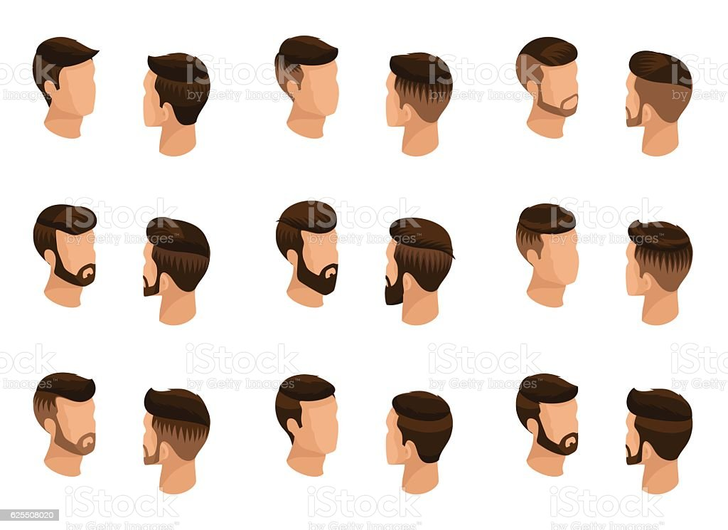 Popular isometric qualitative study, a set of men's hairstyles vector art illustration