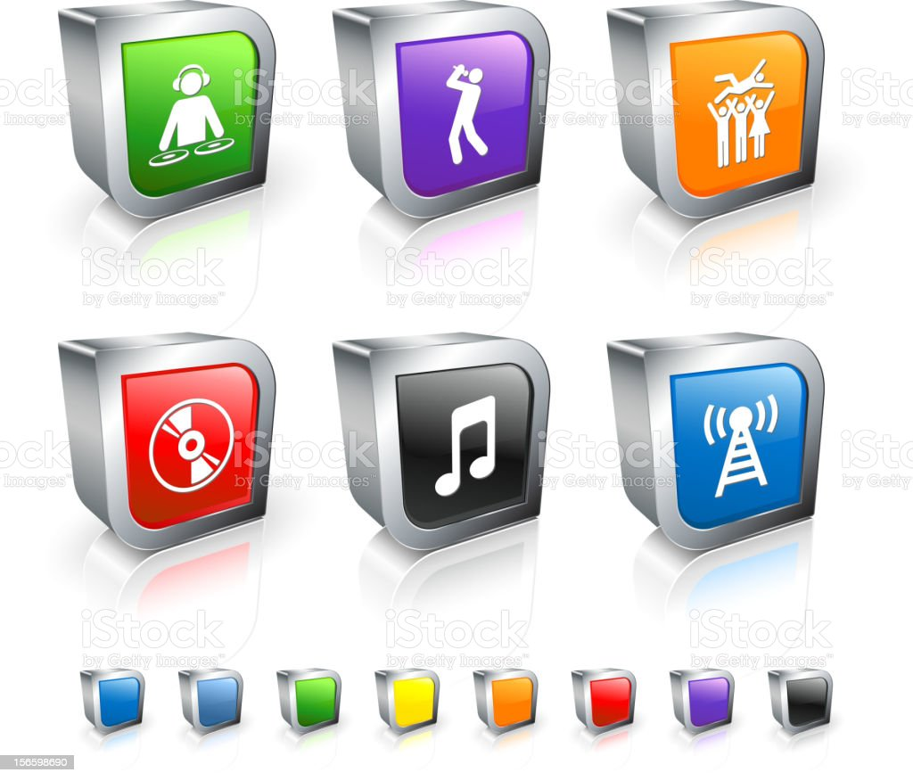 Popular Music 3D vector icon set with Metal Rim vector art illustration
