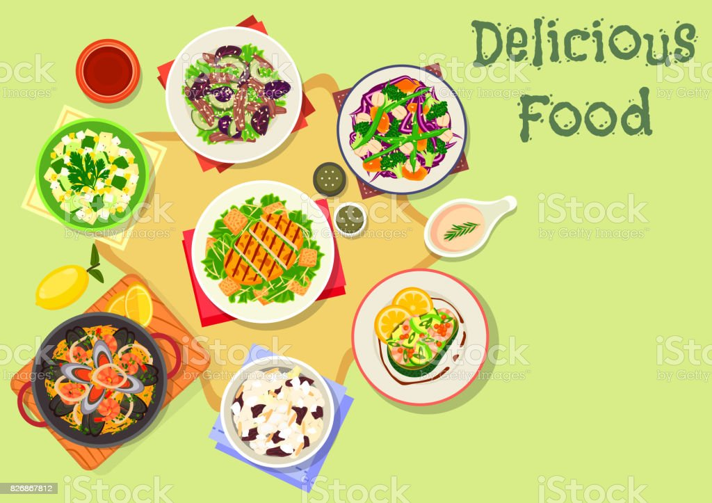Popular salad icon with seafood, meat, vegetable vector art illustration