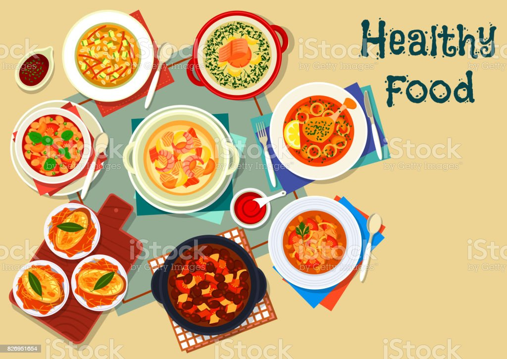 Popular soup of world cuisine icon vector art illustration