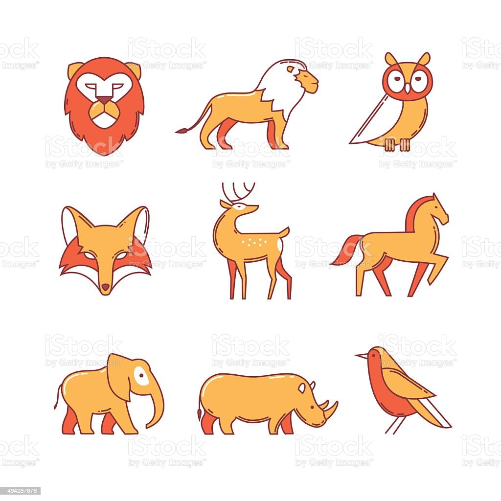 Popular wild life animals thin line icons set vector art illustration