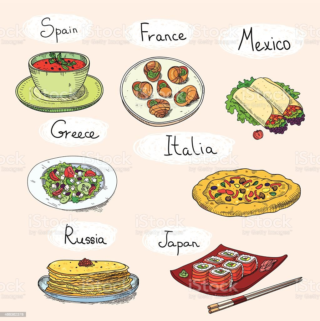 Popular world famous food international restaurant or cafe cuisine dishes vector art illustration