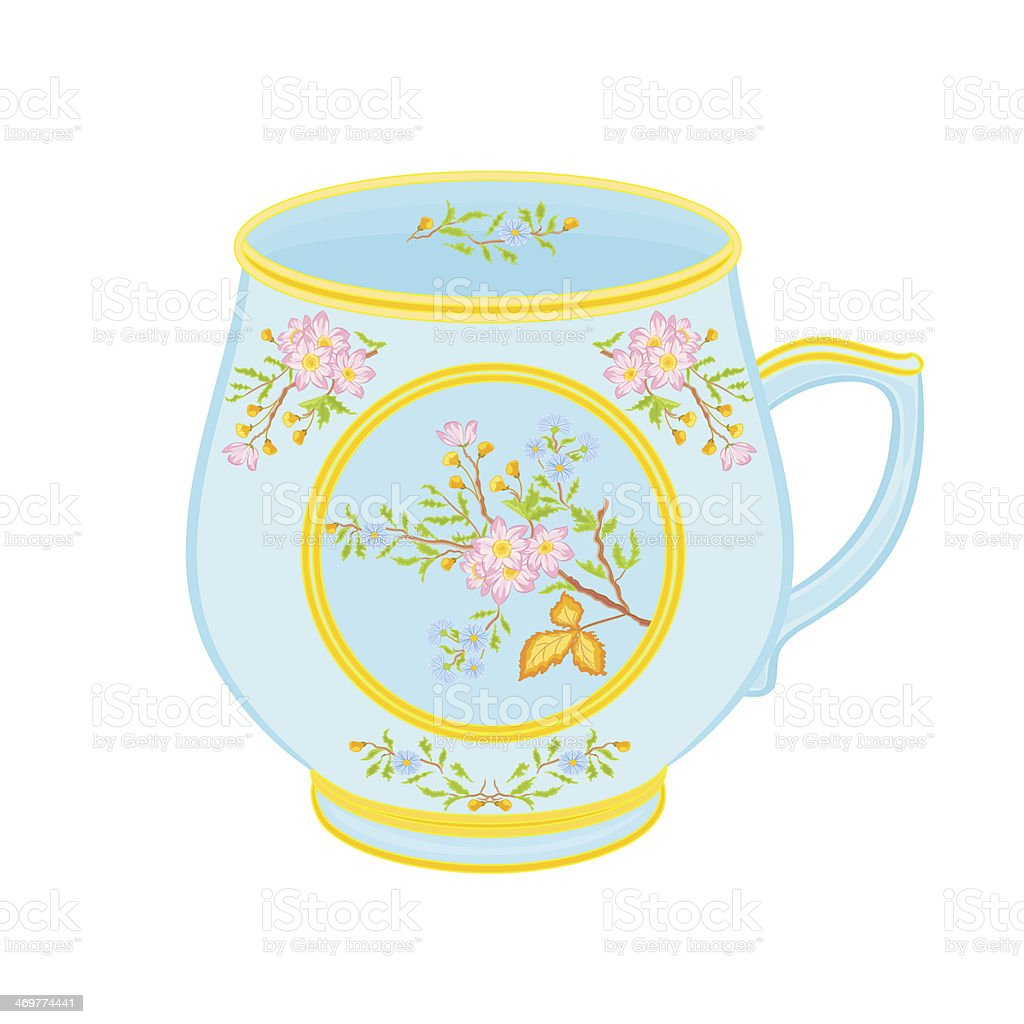 Porcelain mug of with floral pattern royalty-free stock vector art