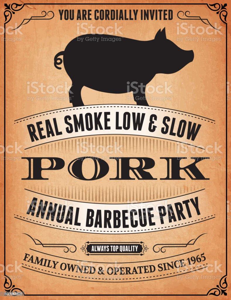 Pork BBQ Event Poster on royalty free vector Background vector art illustration