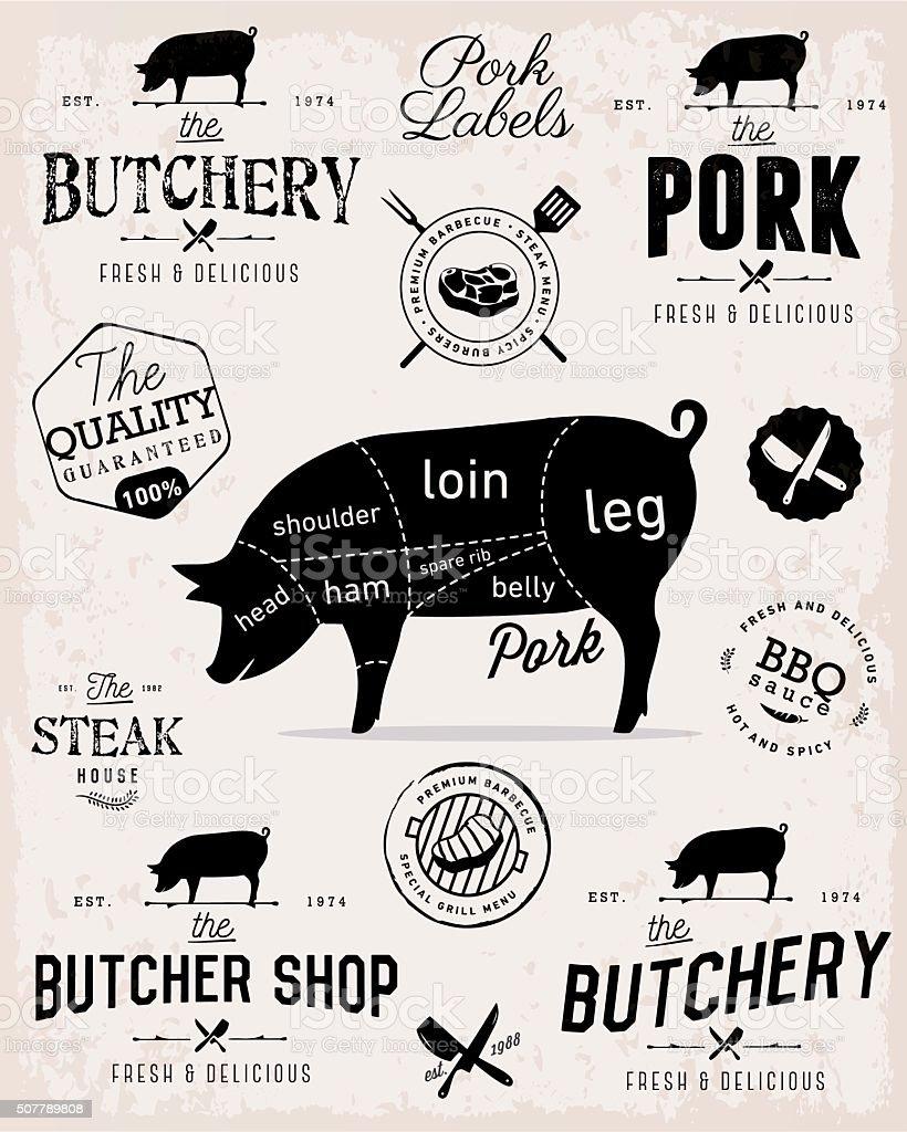 Pork Cuts Diagram and Butcher Shop Badges, Labels and Design Elements vector art illustration