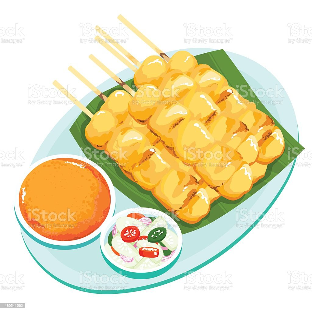 Pork grill with curry and coconut milk vector vector art illustration