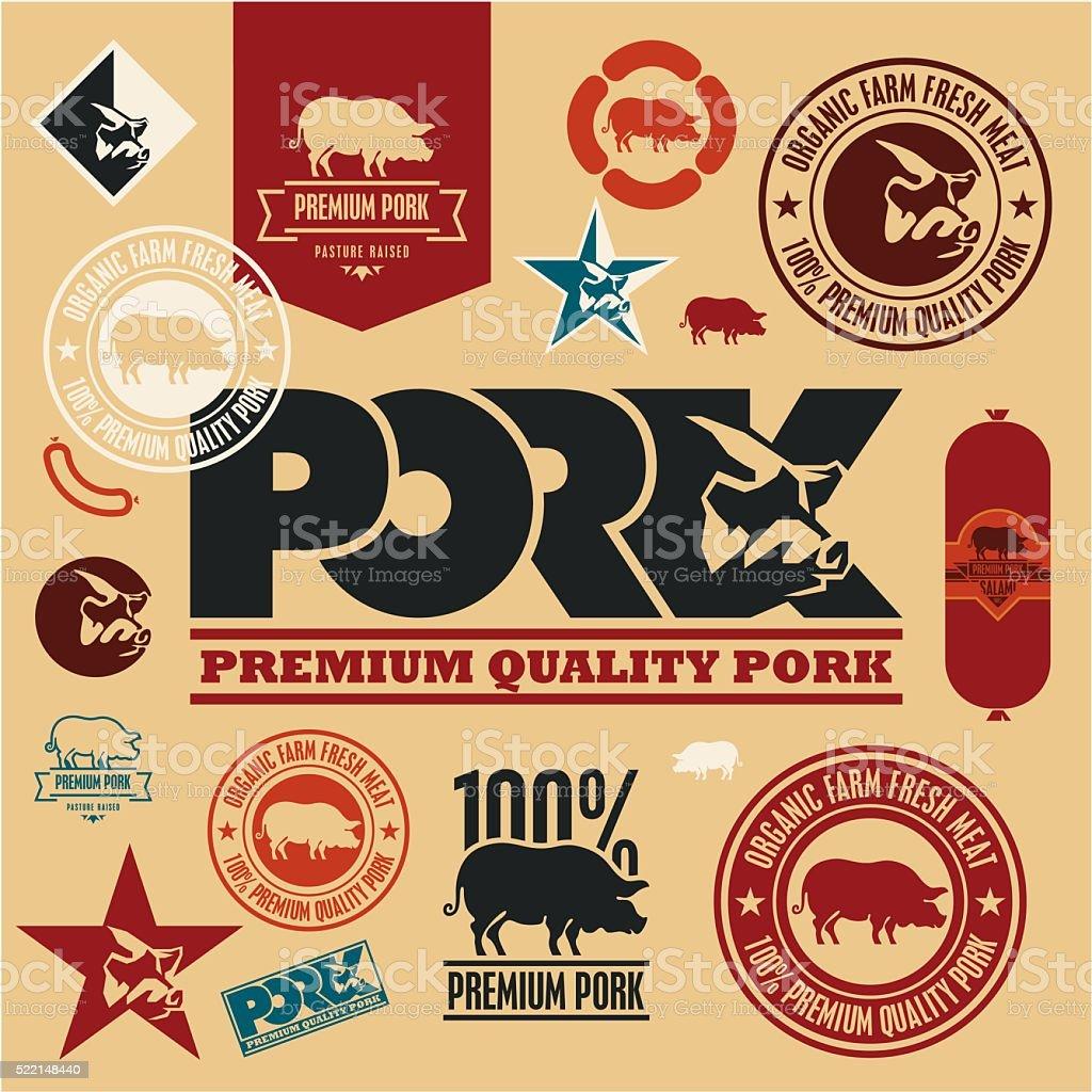 pork labels and badges, pig icon vector art illustration
