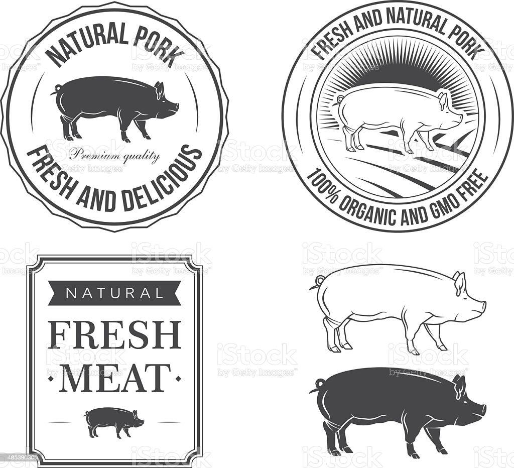 Pork labels vector art illustration