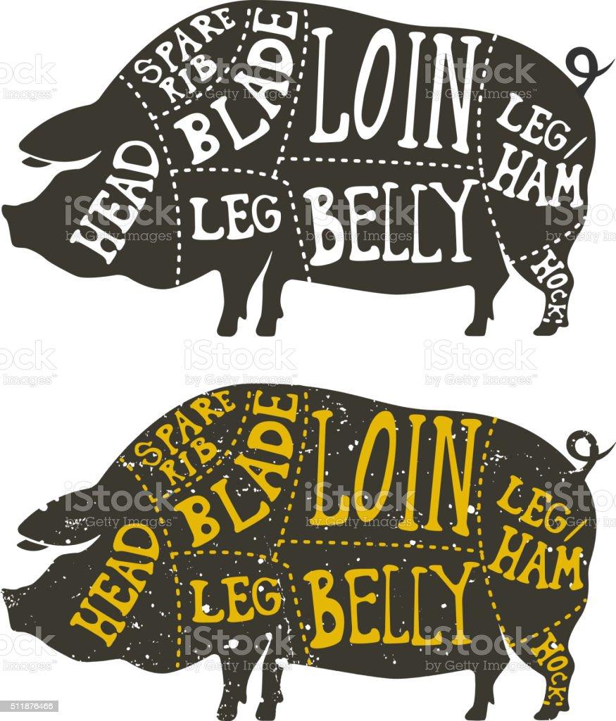 pork meat cuts vector art illustration
