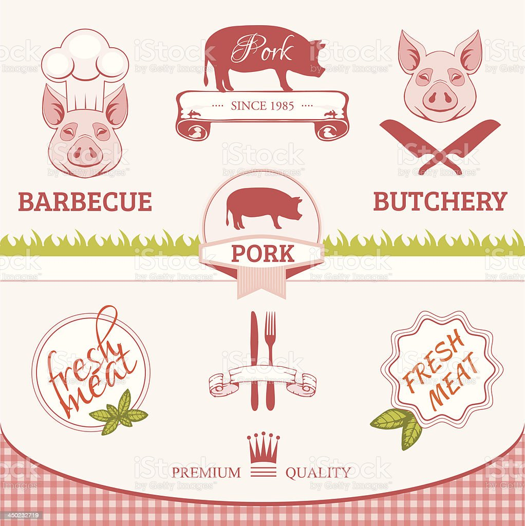 pork, pig, animal silhouette, product label packaging design vector art illustration