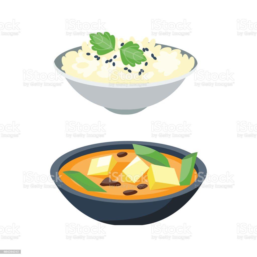 Porridge plate in bowl isolated on white background breakfast healthy food hot delicious and vegetarian groats garnish bread cuisine vector illustration vector art illustration
