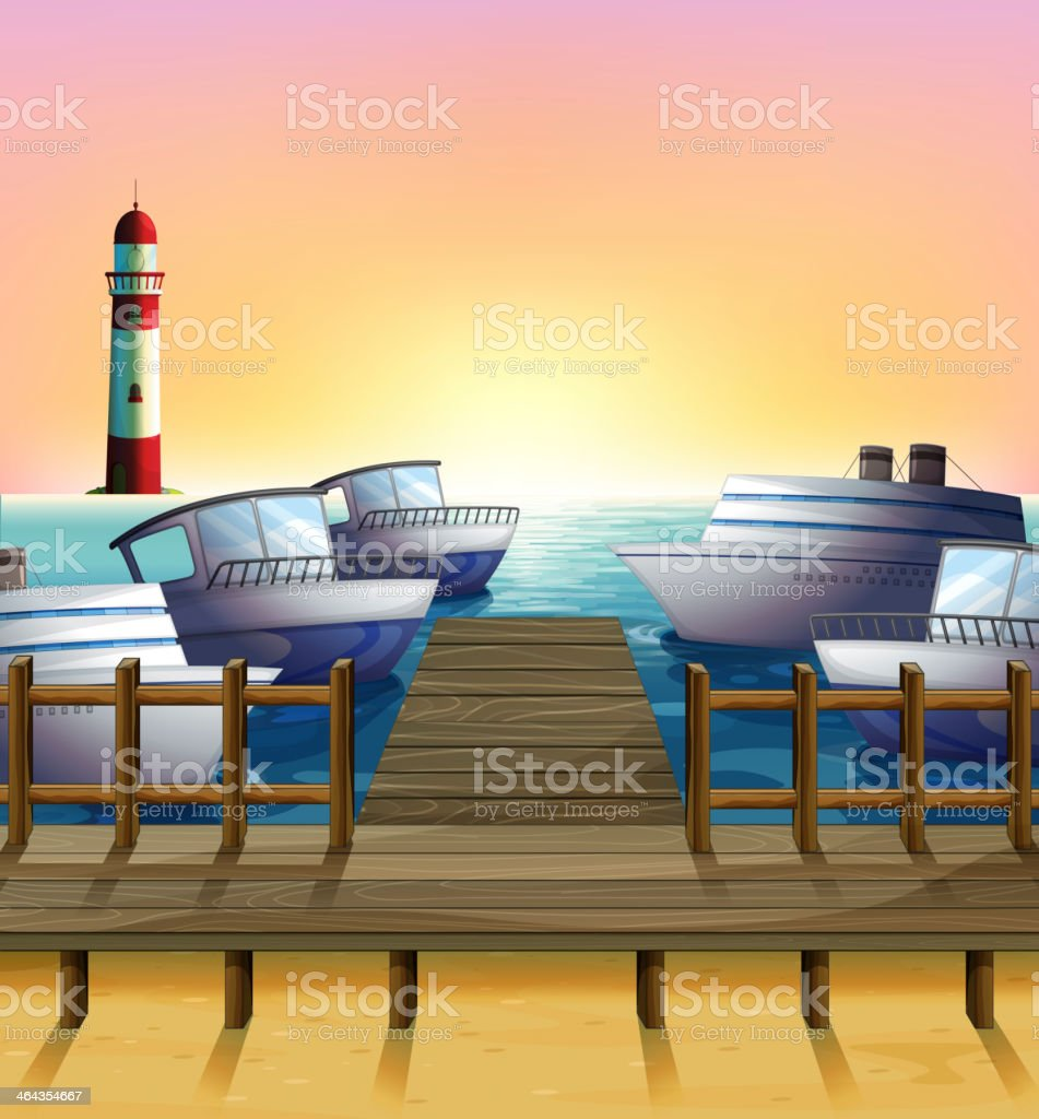 Port and the sunset view royalty-free stock vector art