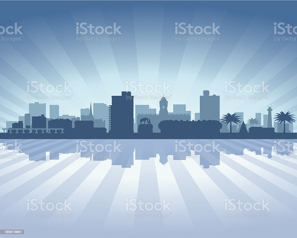 Port Elizabeth South Africa Blue City skyline silhouette vector art illustration