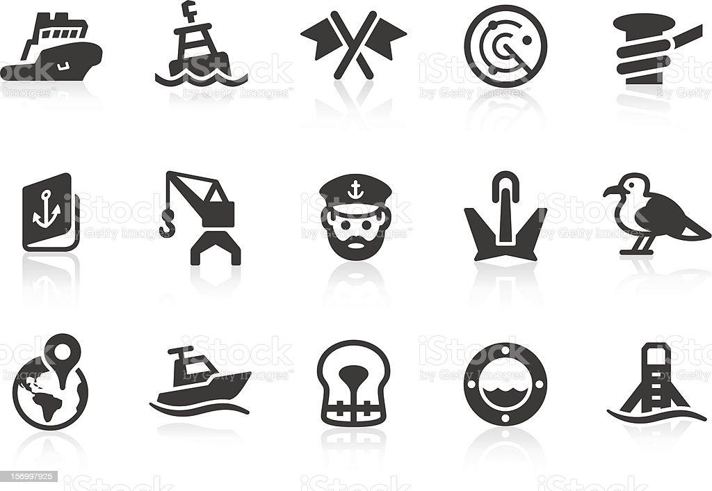 Port icons vector art illustration