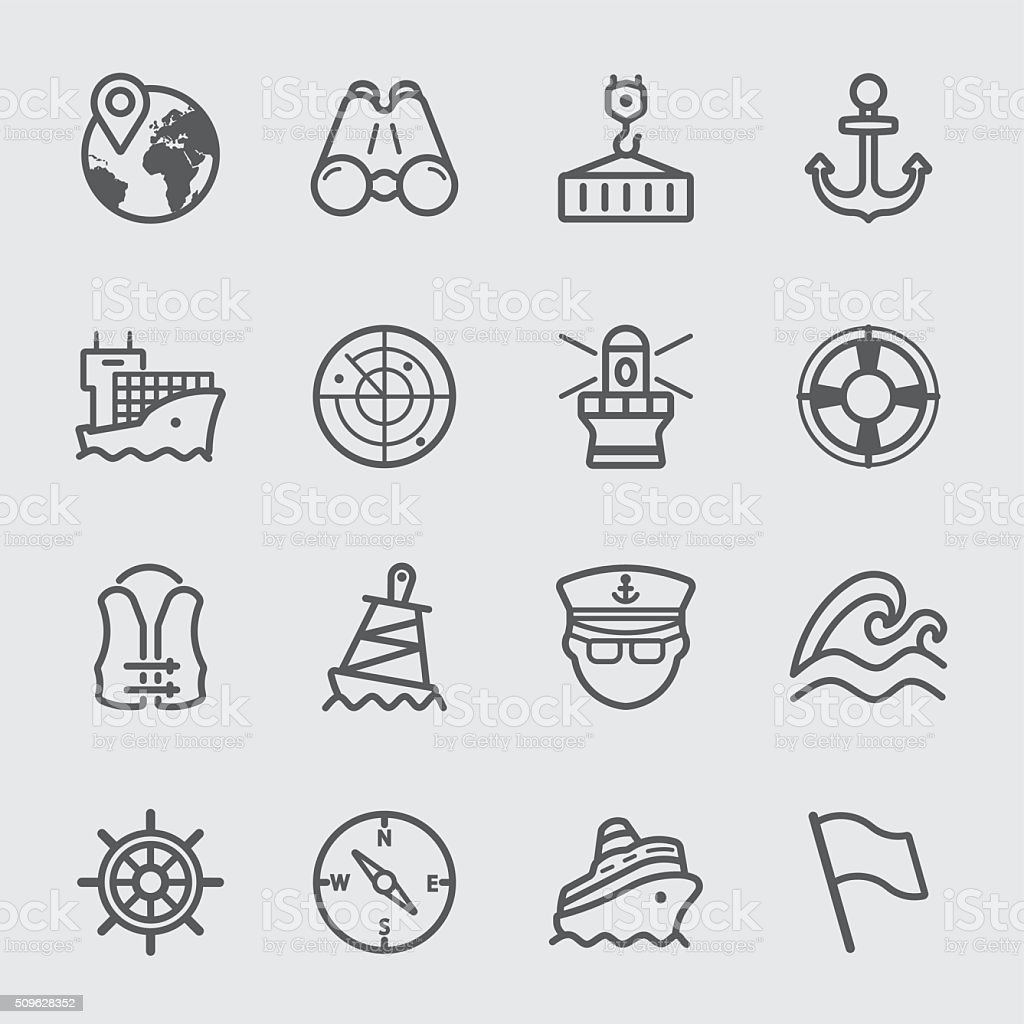 Port marine line icon vector art illustration
