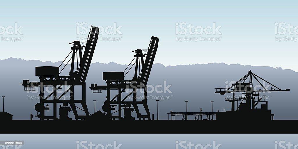Port Silhouette vector art illustration