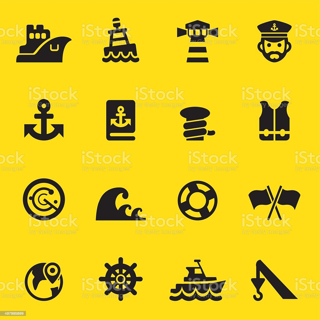Port Yellow Silhouette icons | EPS10 vector art illustration