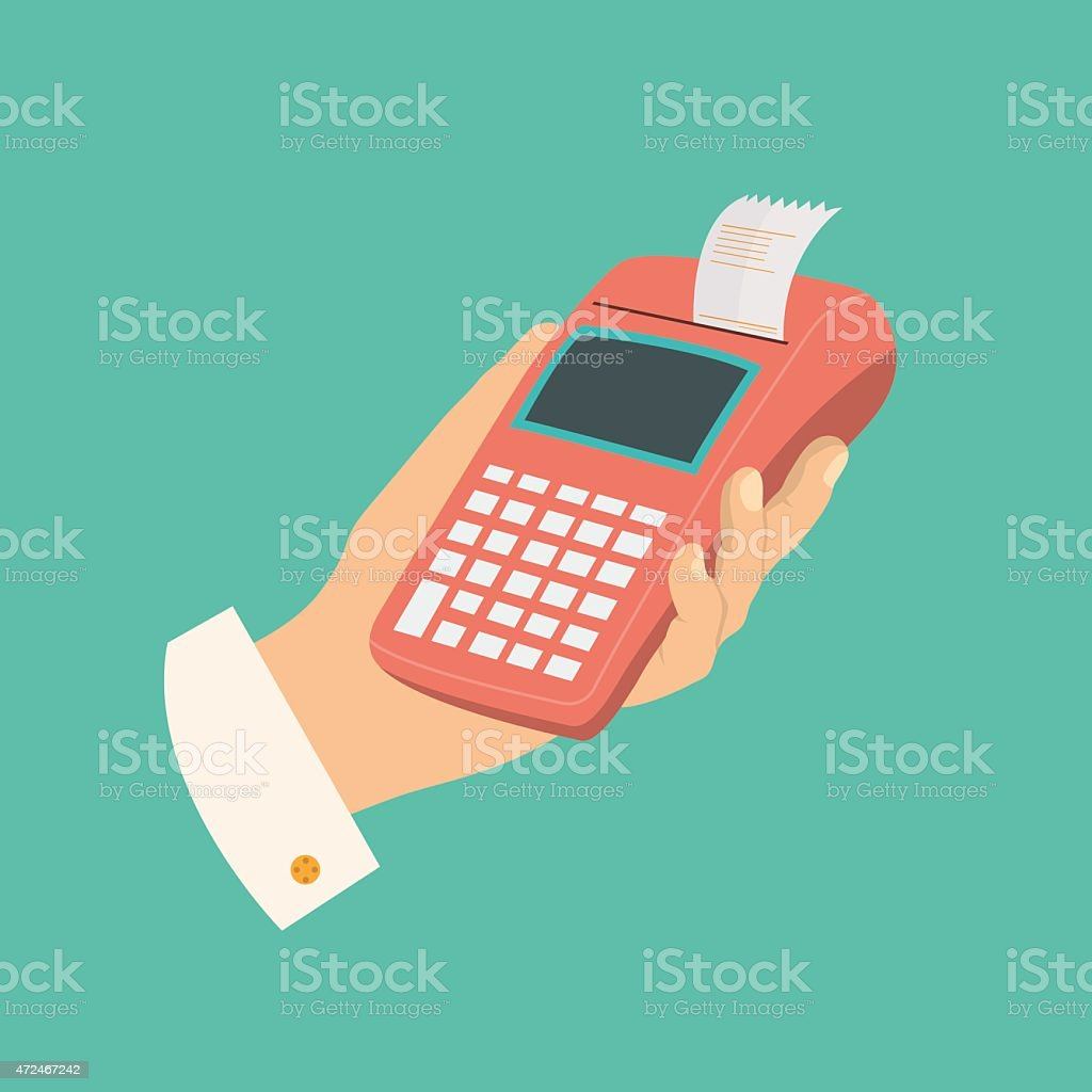 Portable cash register vector art illustration