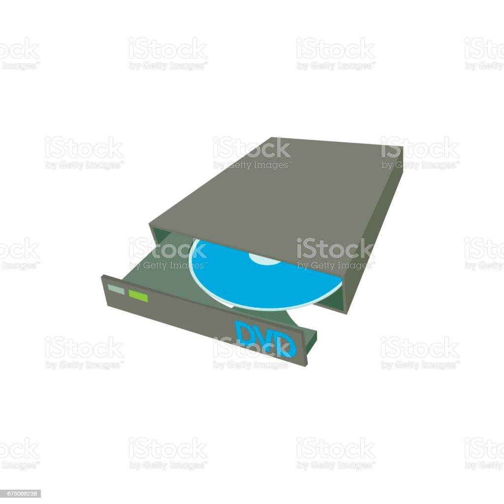 Portable external CD DVD burner writer icon vector art illustration