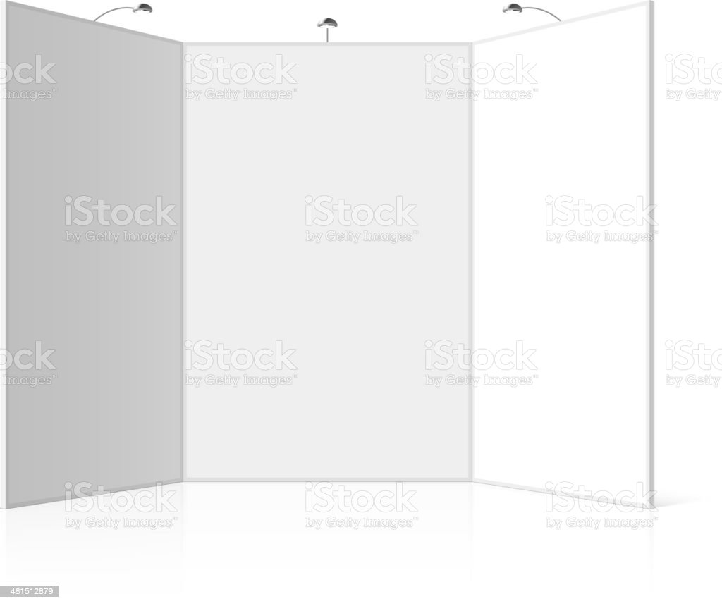 Portable folding presentation display board with three panels, exhibition stand royalty-free stock vector art