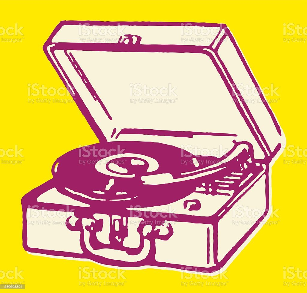 Portable Record Player vector art illustration