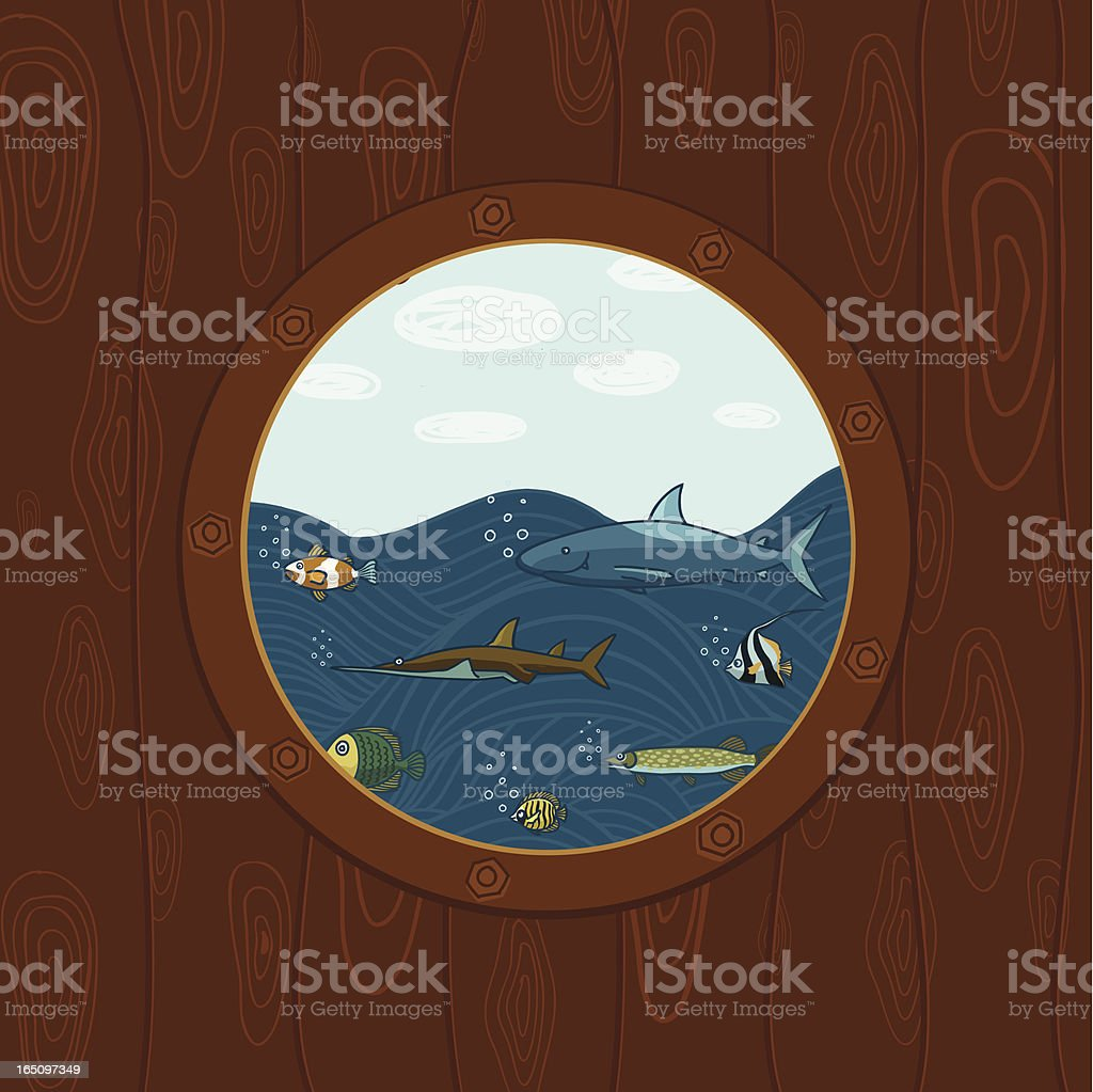 Porthole and colorful fishes royalty-free stock vector art