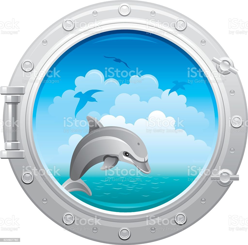 Porthole with sea landscape, dolphin and seagulls vector art illustration