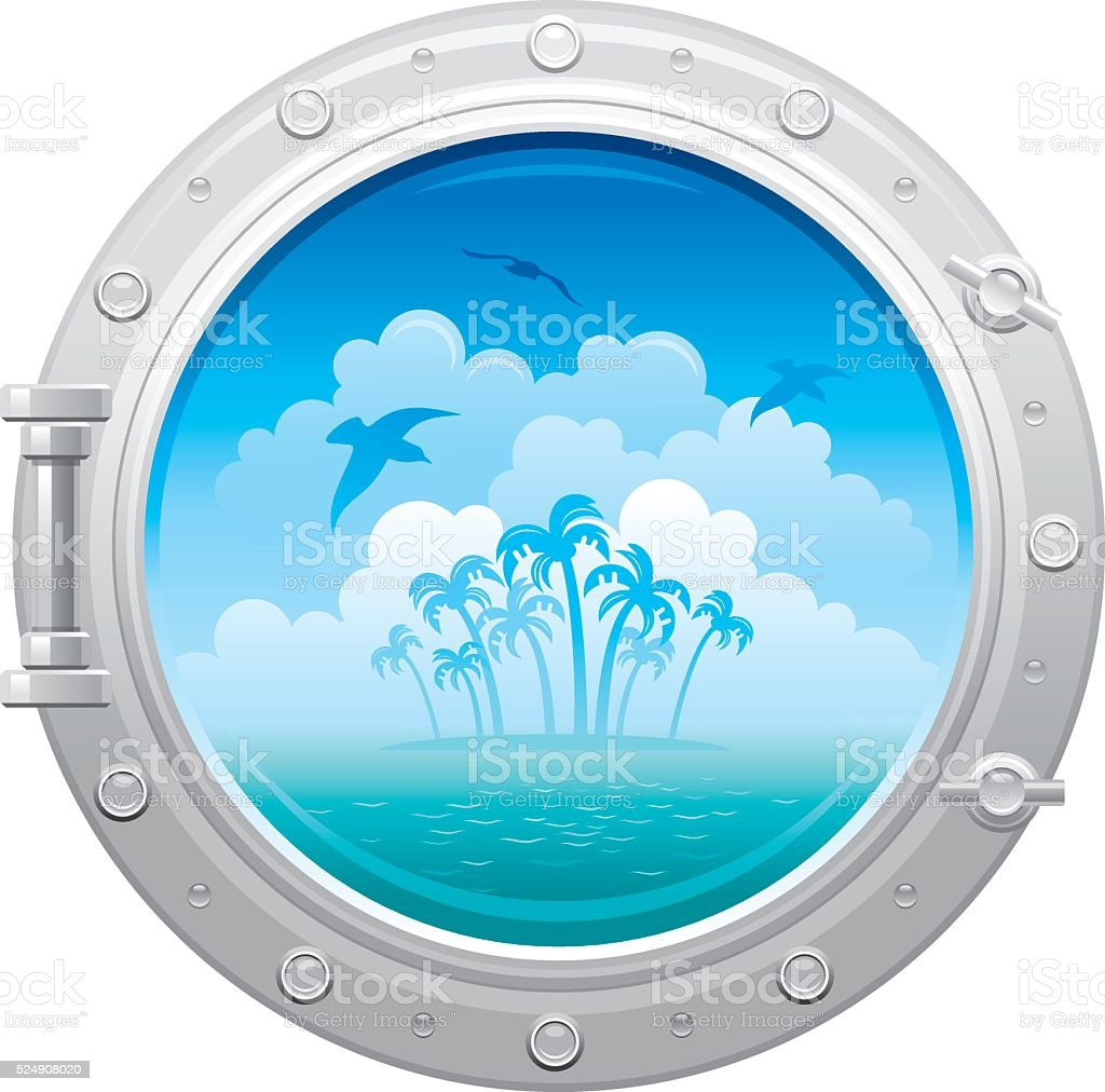 Porthole with sea landscape, island and seagulls vector art illustration