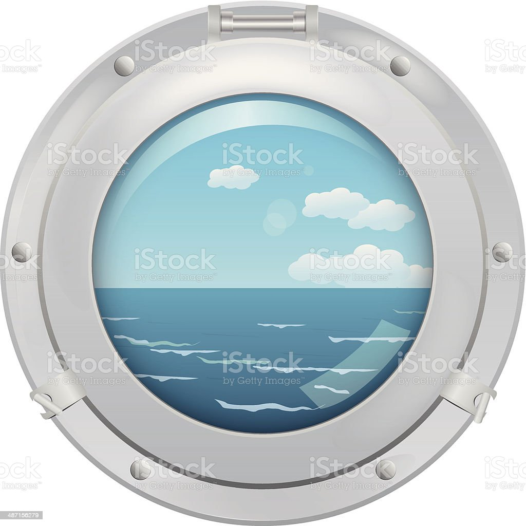 Porthole with sea view vector art illustration