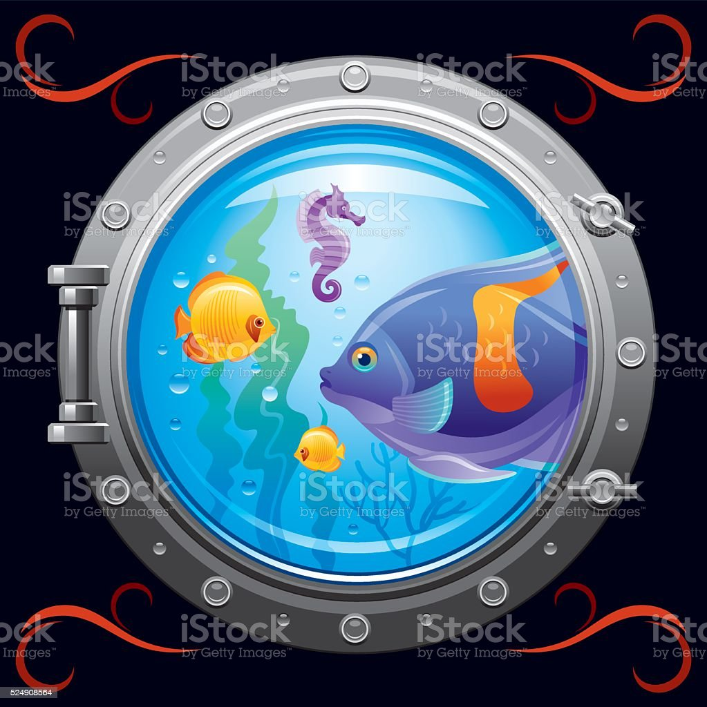 Porthole with underwater life, fishes on black background vector art illustration