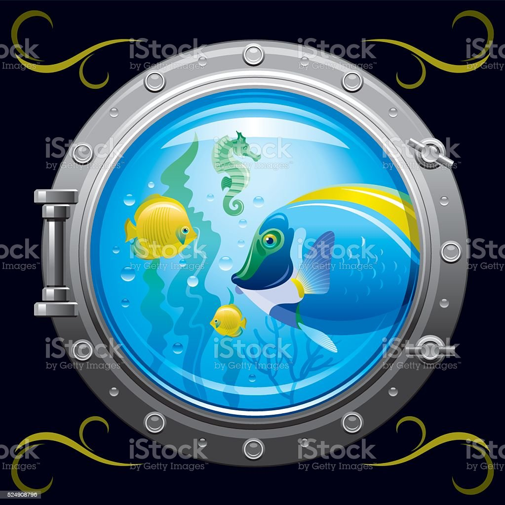 Porthole with underwater life, fishes on black background vector art illustration