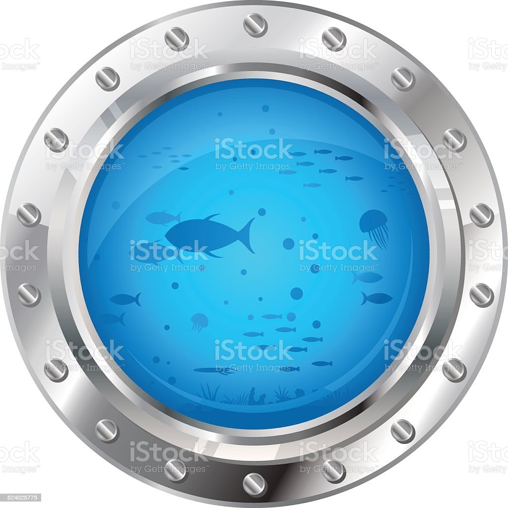 Porthole with Underwater Life vector art illustration