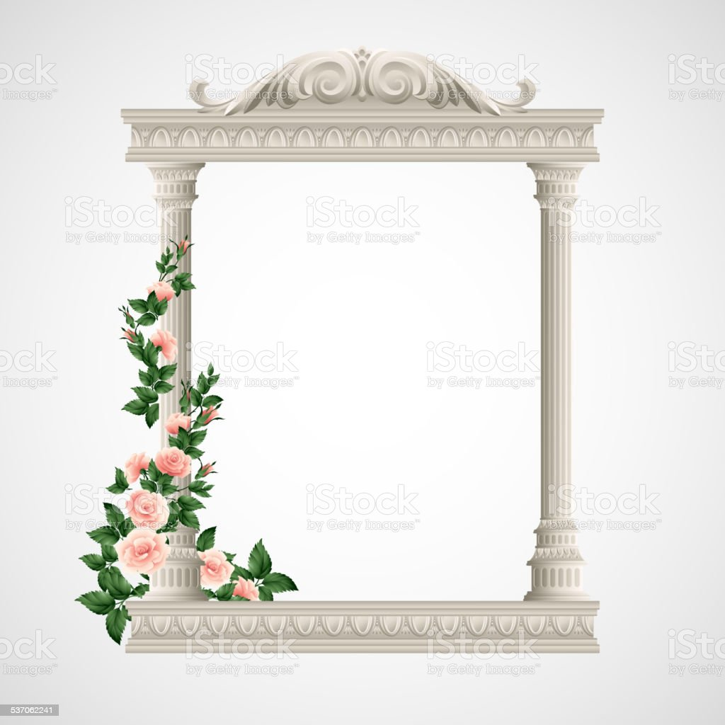 Portico an ancient temple. Colonnade.  Vector Illustration vector art illustration
