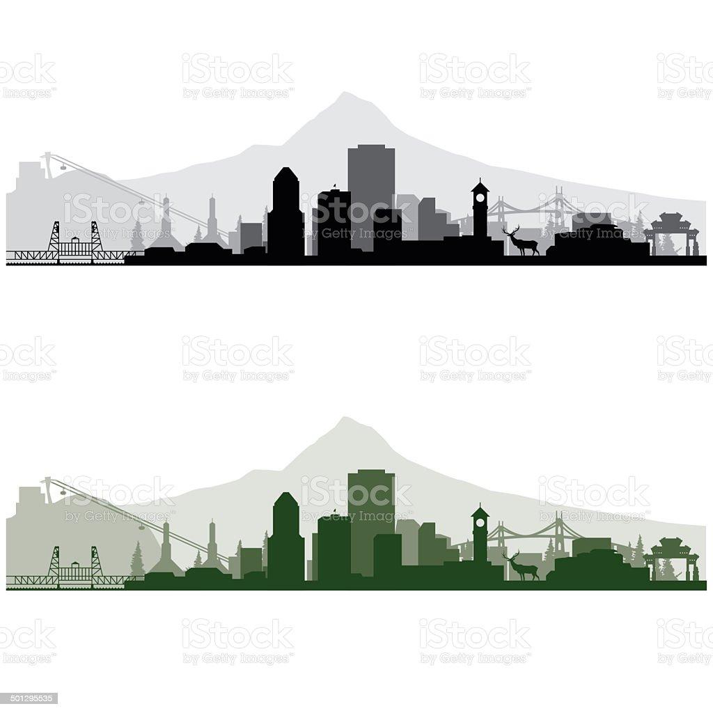 Portland Cityscape vector art illustration