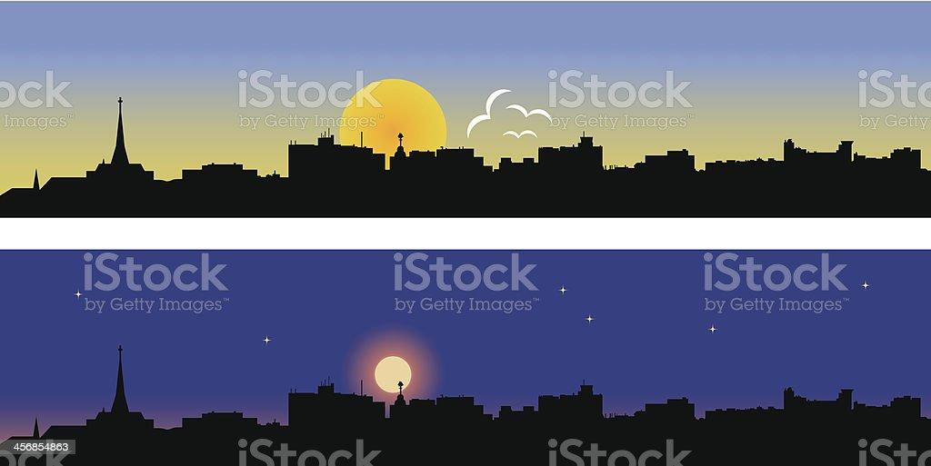 Portland Day and Night vector art illustration