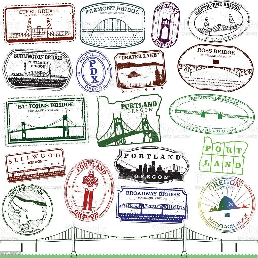Portland Landmark Stamps vector art illustration