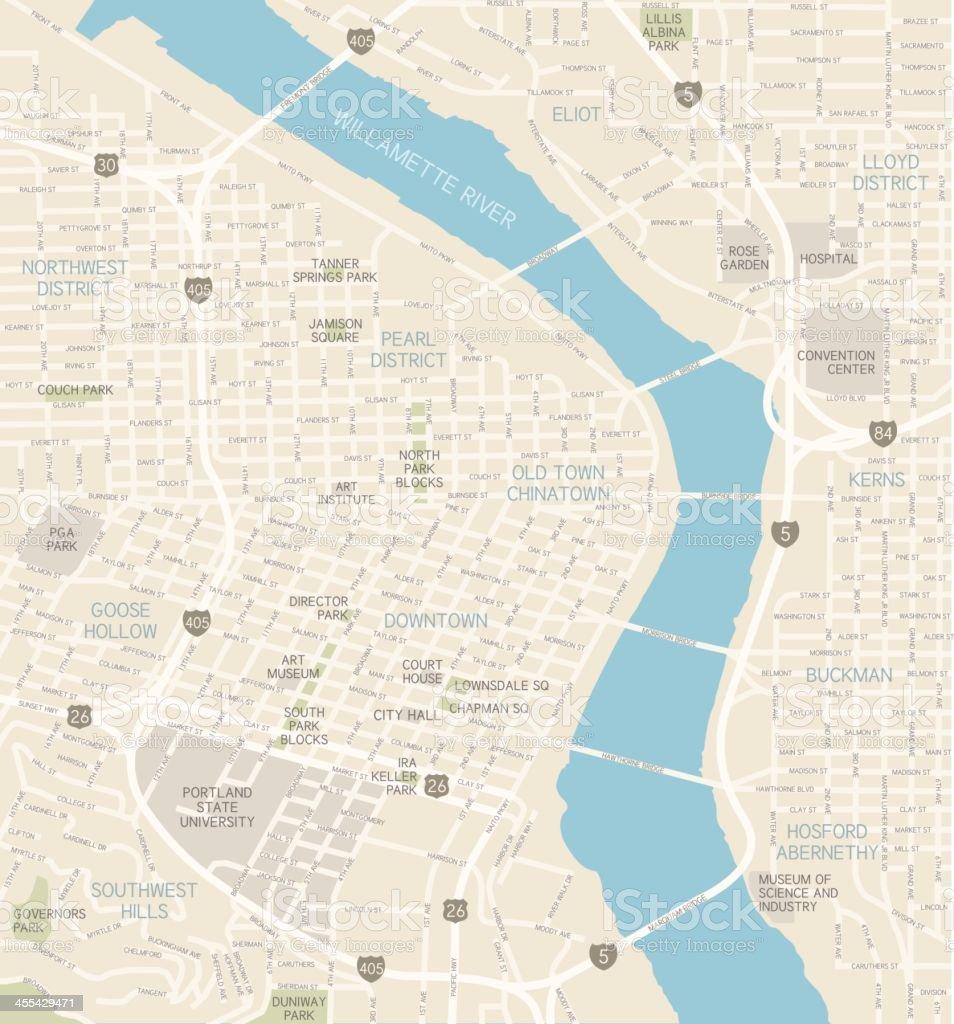 Portland Oregon Downtown Map Stock Vector Art  IStock - Portland oregon on the usa map