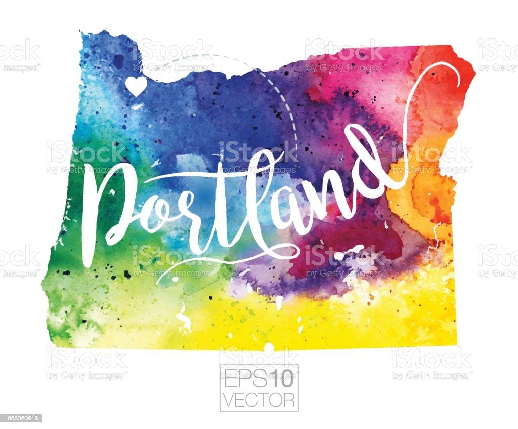 Portland Oregon Usa Vector Watercolor Map Stock Vector Art - Portland oregon on the usa map