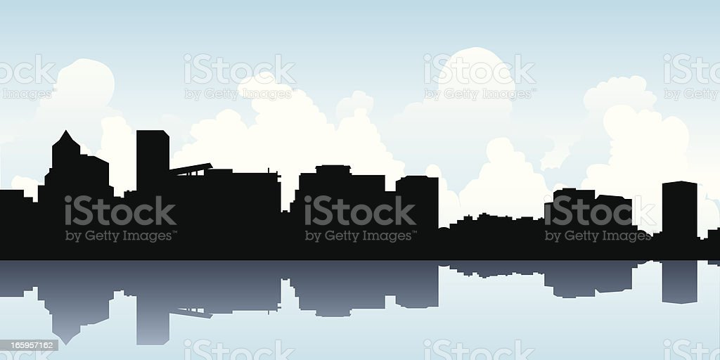 Portland Skyline Silhouette royalty-free stock vector art