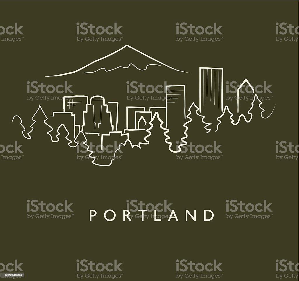 Portland Skyline Sketch vector art illustration