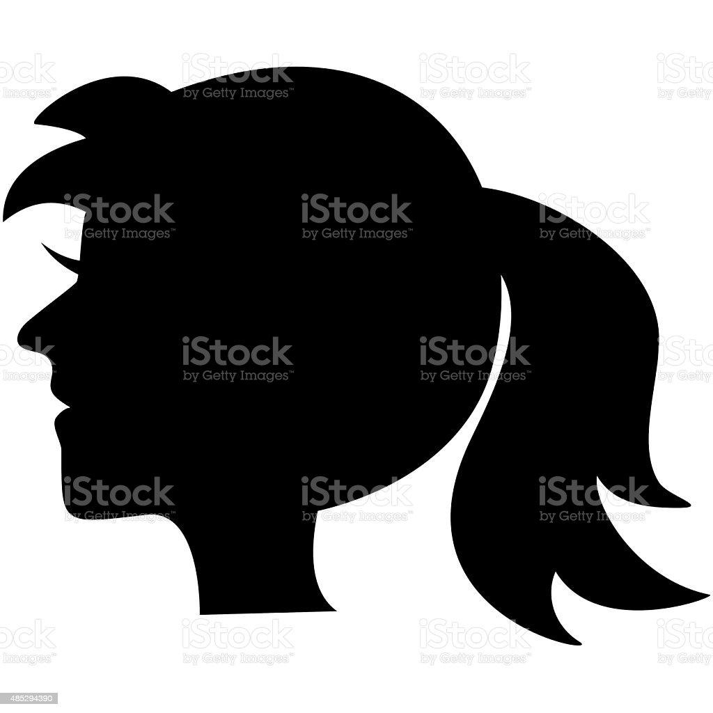 portrait, black silhouette vector art illustration