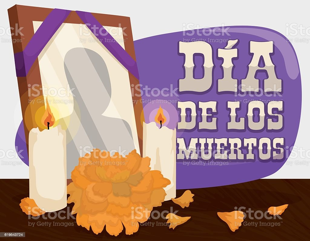 Portrait, Marigold and Candles: Traditional Offerings for 'Dia de Muertos' vector art illustration