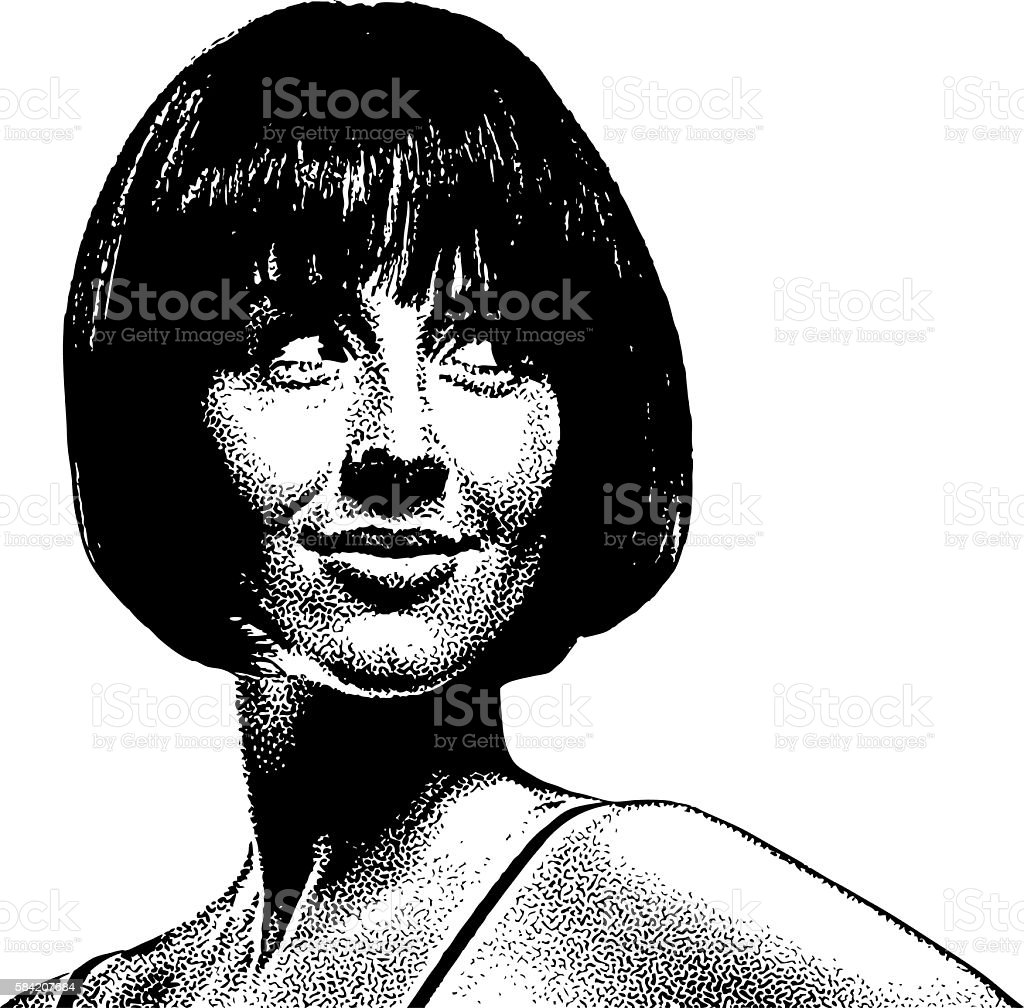Portrait of a beautiful woman vector art illustration